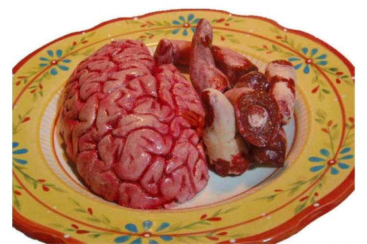 Repas d'un cerveau et de doigts frais