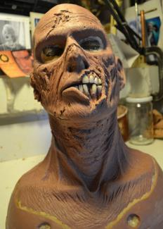 Death Dive - zombie. Film. Sculpture of one background zombies