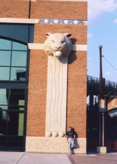 Comerica Park - tiger head. Detroit Tigers Stadium, professional baseball team. Myself and my sculpture head tiger.
