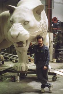 Comerica Park - tiger Detroit. Tigers Stadium, professional baseball team. Myself and one of a Detroit tiger sculpture.