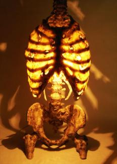 EG lamp on. Product of sale - collector's item. Skeleton urethan lamp with silicone skin inspired by a serial killer.