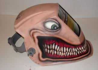 Welder mask. Private project. Airbrush painting.
